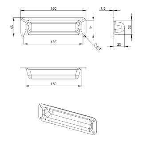 Adam Hall 3411 Schalen Griffmulde schmal Stahl 150 x 45 mm