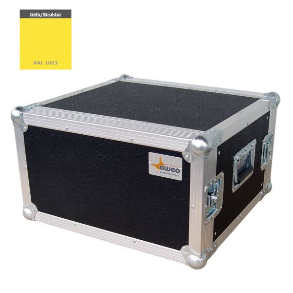 5 HE Amp Rack 19 Double Door 45 CM Flightcase gelb