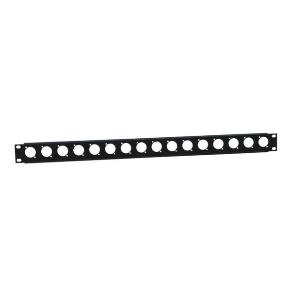 Adam Hall 872225 - 1HE Rackblende 19 Zoll U-Form 16 D-Type mit Zugentlastung