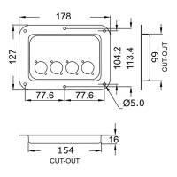 Penn Elcom D024Z Boxen Einbauplatte verzinkt für 4...