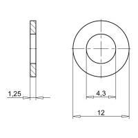 Unterlegscheibe Kotflügelscheibe Stahl verzinkt 4,3 x 12 x 1,25 mm (100 Stk.)