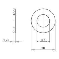 Würth Kotflügelscheiben Stahl verzinkt 4,3 x 20 x 1,25 mm 100 Stk.
