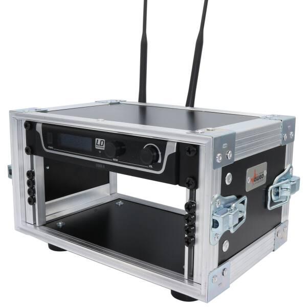 3 HE Half Size Rack für LD Systems U500 Funkempfänger Phenol schwarz