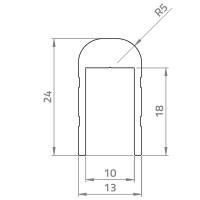 Adam Hall 6225 Aluminium U-Profil mit 5 mm Radius...