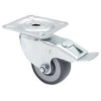 Flightcase Lenkrolle 50 mm mit grauem Rad und Feststeller...