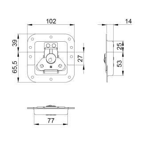 Adam Hall 17293 SP - Butterfly Verschluss mittel gefedert halb gekröpft 14 mm tief mit Öse