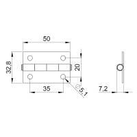Adam Hall 2601 Scharnier 50x32,8 mm Stahl verzinkt