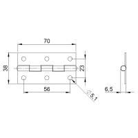 Adam Hall 2602 Scharnier 70x38 mm Stahl verzinkt