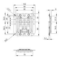 Adam Hall 27096 - Deckelaufsteller mittel ungekröpft mit Scharnier und Klick-Stop