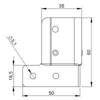 Adam Hall 40404 - L-Ecke Schließwinkel 60 x 50 mm...