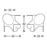 Adam Hall 40802 Kugelecke klein 43 mm gekröpft 22 mm