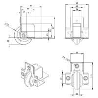 Adam Hall 37551 S - Kanteneinbaurolle mit weichem Rad 75 mm