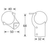 Adam Hall 41202 Kugelecke mittel 51 mm mit L-Ecke 68 mm...