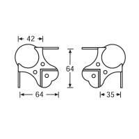 Adam Hall 410429 - Kugelecke groß dreischenklig gekröpft 35 mm 9-Loch