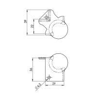 Adam Hall 41143 Kugelecke klein 40 mm mit L-Ecke 37 mm...