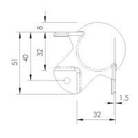Adam Hall 4124 Kugelecke mittel 51 mm gekröpft 30 mm
