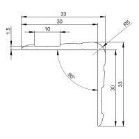 Adam Hall 6110 Aluminium-Kantenschutz 33 x 33 mm mit Nietenkopfrille