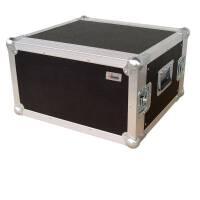"""6 HE Amp Rack 19"""" Double Door 45 CM Flightcase 7 mm MPX"""