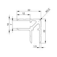 1 m Adam Hall 6129 Aluminium Casemaker 22x22 mm Einschub 7 mm
