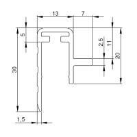 2 m Adam Hall 6145 Deckel Auflageprofil für Flachdeckel Einschub 10 mm