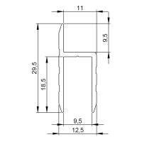 1 m Adam Hall 6130 Aluminium h-Profil für 9,5 mm Serviceklappen