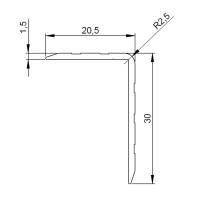 1 m Adam Hall 6108 Aluminium Kantenschutz 30x20,5 mm