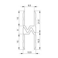 1 m Adam Hall 6103 Aluminium Hybrid Schließprofil Einschub 9,5 mm