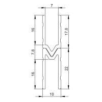 1 m Adam Hall 6142 M Aluminium Schließprofil male Einschub 7 mm
