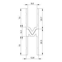 1 m Adam Hall 6144M Aluminium Schließprofil male Einschub 9,6 mm
