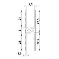 2 m Adam Hall 6304 Aluminium Hybrid Schließprofil Einschub 9,5 mm