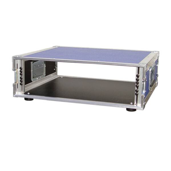 3 HE Amp Rack 19 Double Door 45 CM Flightcase blau