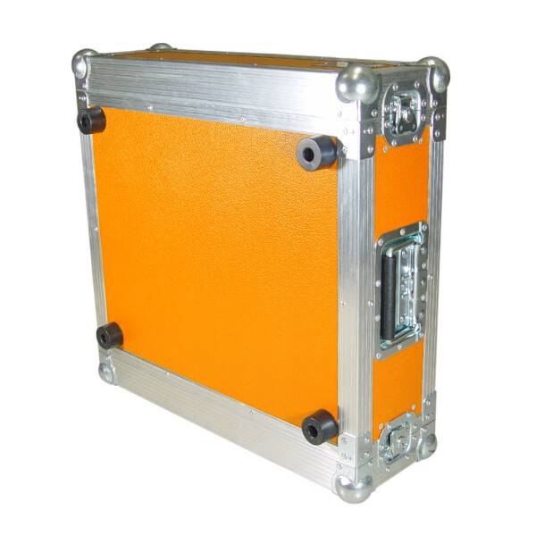 3 HE Amp Rack 19 Double Door 45 CM Flightcase orange