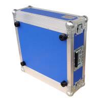 """3 HE Rack 19"""" Double Door 39 CM Flightcase 7 mm MPX blau"""