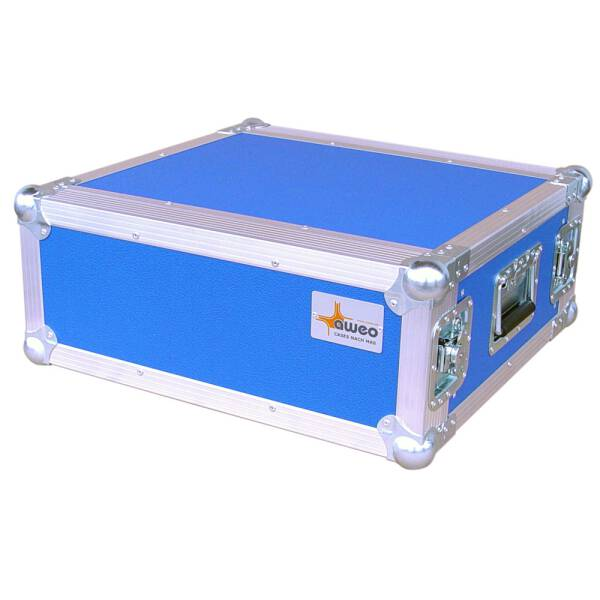 4 HE Rack 19 Double Door 39 CM Flightcase blau