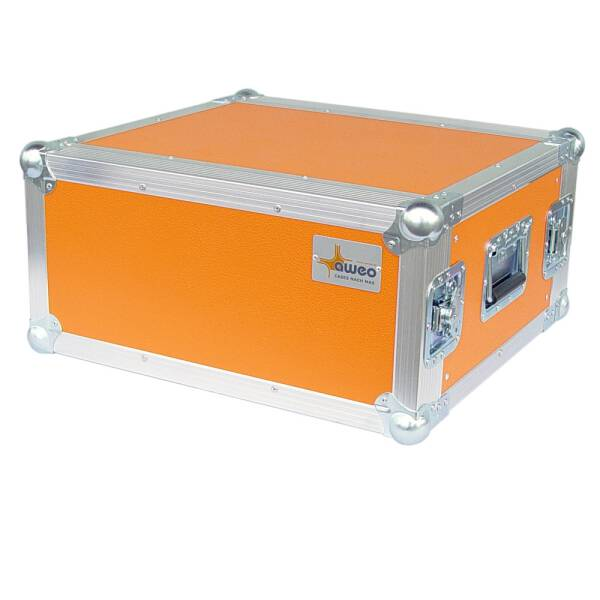 4 HE Rack 19 Double Door 39 CM Flightcase orange