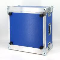 """6 HE Rack 19"""" Double Door 39 CM Flightcase blau"""
