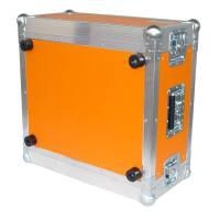 """6 HE Rack 19"""" Double Door 39 CM Flightcase orange"""