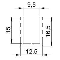 Adam Hall 6240 Aluminium U-Profil Einschub 9,5 mm