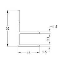 2 m Penn Elcom MG 0611 - Aluminium F-Profil mit 9,1 mm Einschub