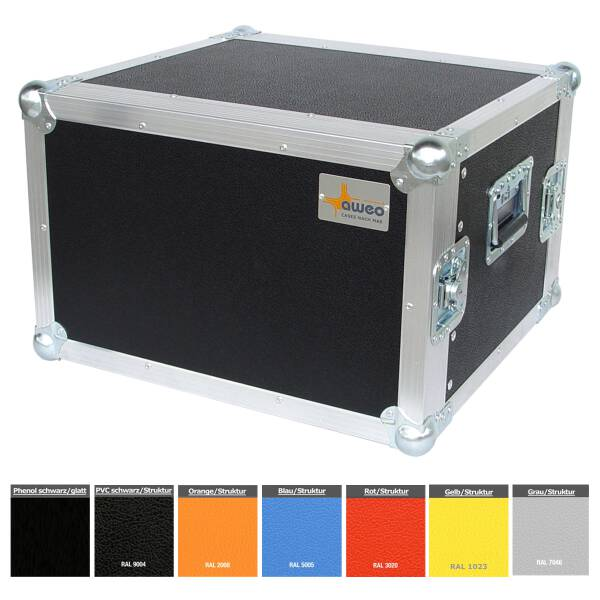 8 HE Rack 19 Double Door 39 CM Flightcase blau