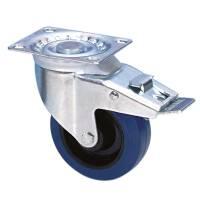 Guitel 37024 Lenkrolle 100 mm mit blauem Rad und Feststeller
