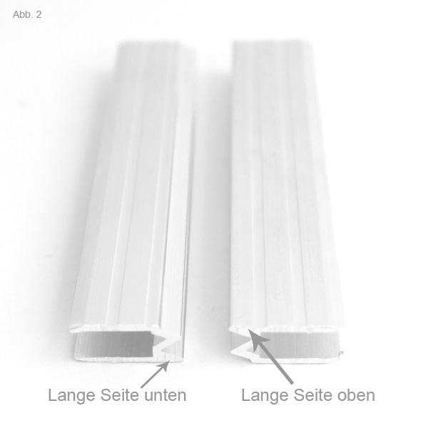 Hybrid Schließprofil richtig gedreht kurze und lange Seite oben